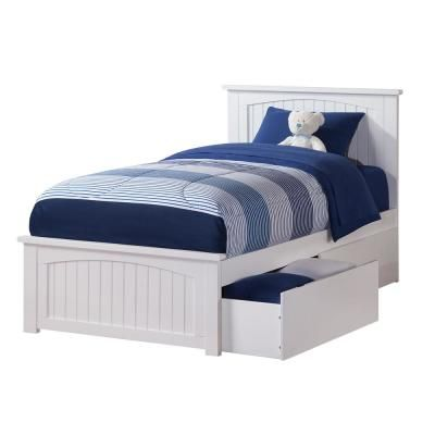 Atlantic Furniture Nantucket White Twin Xl Platform Bed With