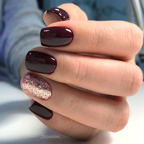 30 Manis That Will Make You Adore Squoval Nails - Accent Nail Designs In Trend. 30 Manis That Will Make You Adore Squoval Nails - Accent Nail Designs In Trendy Burgundy Color ❤️ Those of you who like to wear their squoval n - Accent Nail Designs, Square Nail Designs, Classy Nail Designs, Short Nail Designs, Acrylic Nail Designs, Fall Nail Designs, Shellac Designs, Latest Nail Designs, Popular Nail Designs