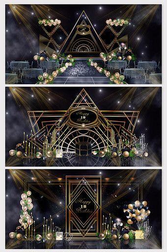 Cool Gatsby Black Gold Birthday Party Rendering In 2020 Wedding