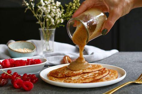 vegan pannenkoeken met salted dadel karamel | beaufood recipes