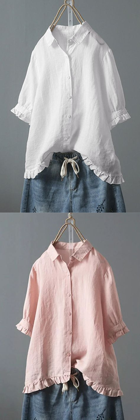 【Shop Now】Button Turn Down Collar Solid Color Shirt