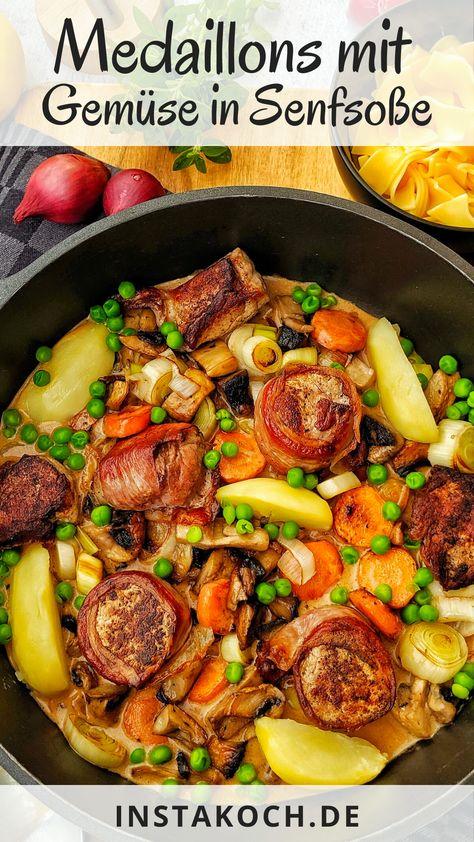 Mein einfaches Rezept für Medaillons mit Bacon und buntem Gemüse in Senfsoße ist ein sehr leckeres Low Carb Pfannengericht das in 35 Minuten zubereitet ist. Perfekt für jeden Tag und auch sehr lecker zusammen mit einer Beilage wie Bandnudeln, Kartoffeln oder Reis #familenessen #medaillons #senfsauce #lowcarb