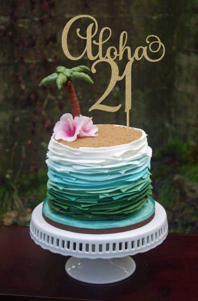Aloha 21 Birthday Cake Topper 21st Cake Topper 21st Birthday
