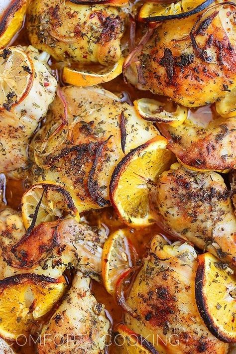 Herb Citrus Roasted Chicken. Made this tonight without the oranges and it was so good!