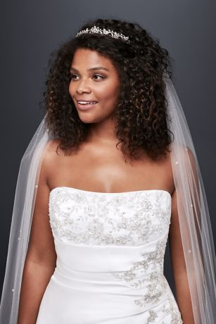 A Line Plus Size Wedding Dress With Lace Up Back David S Bridal Black Wedding Hairstyles Natural Hair Bride Strapless Wedding Dress Hair