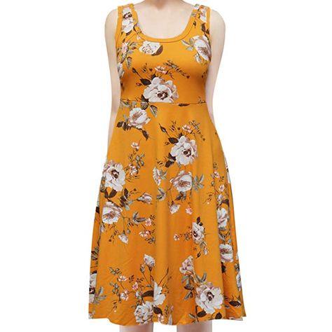8d7d9b1f8db ShopMyTrend SMT Women s Sleeveless Flowy Midi Summer Beach A Line Tank Dress  1X (Mustard) Sepia Flower
