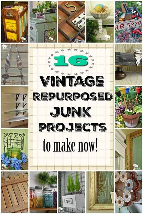 16 vintage repurposed junk projects for the DIY home decorator or vintage maker/seller. Printable tutorials available for some projects. Vintage, refreshed, repurposed, upcycled, trash to treasure. Recycled Door, Repurposed Wood, Repurposed Items, Upcycled Crafts, Repurposed Furniture, Diy Furniture, Dresser Repurposed, Thrift Store Furniture, Furniture Projects