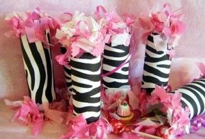 If you want to make these on your own, you could use toilet paper or paper towel rolls, zebras duct tape and pink/white tissue paper