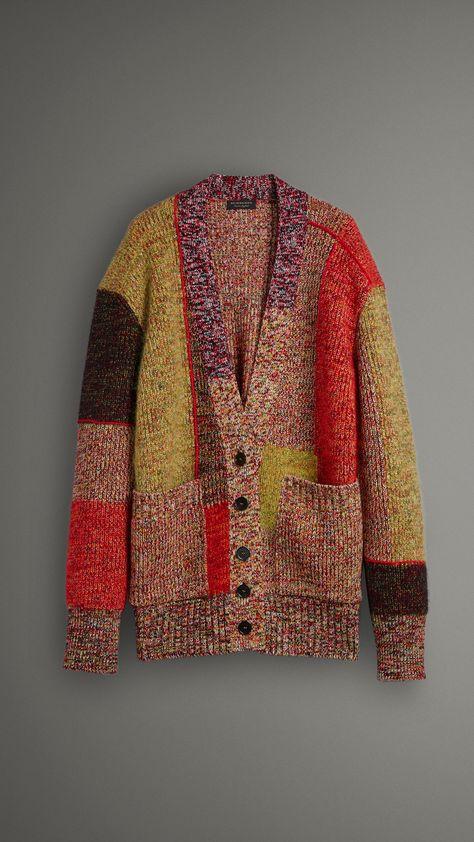 Wool Linen Mohair Blend Mouliné Oversized Cardigan in Multicolour - Women
