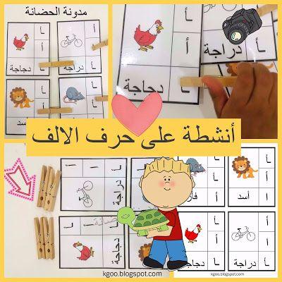 مدونة الحضانة العاب تعليم الاطفال تعليم حرف الالف للاطفال مع ا Arabic Alphabet For Kids Alphabet Activities Alphabet For Kids