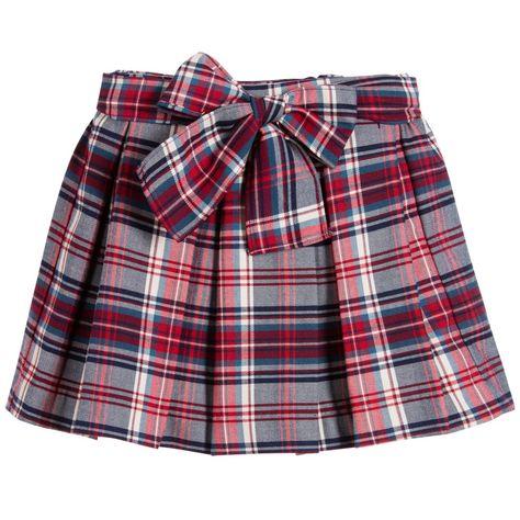 9fda8393d0 Malvi & Co Girls Red & Blue Tartan Skirt at Childrensalon.com