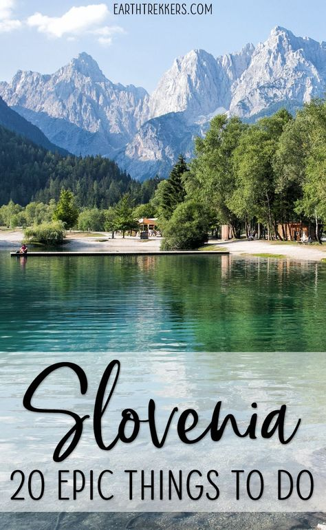 Here are 20 epic things to add to your Slovenia bucket list. Visit Ljubljana, Piran, and Maribor. Hike in Triglav National Park. Swim or paddle board in Lake Bohinj and Lake Bled. Go on scenic drives on the highest roads in Slovenia. Explore gorges and waterfalls. #slovenia #bucketlist #ljubljana #triglav #adventuretravel #lakebled #lakebohinj