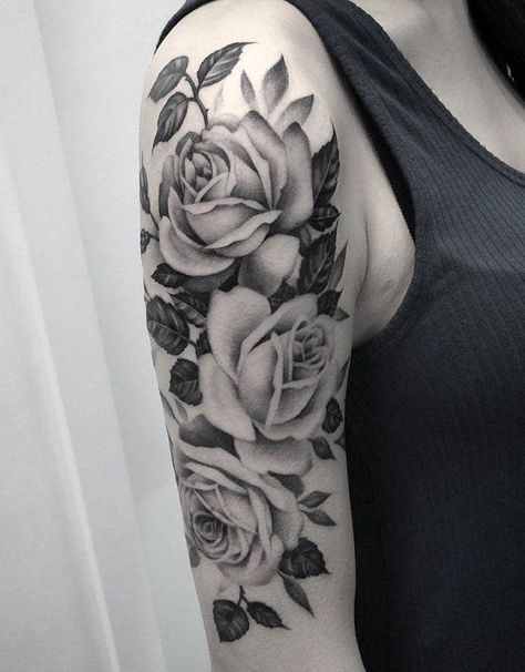 56 Ideas Design Tattoo Rose Leaves Girls With Sleeve Tattoos Rose Tattoos For Women Arm Sleeve Tattoos For Women