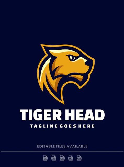 Tiger Head Mascot Logo Template AI, EPS, PSD