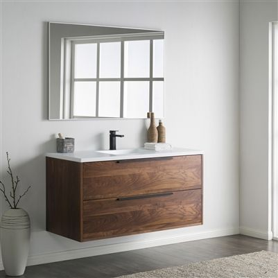 This Contemporary Single Sink Vanity Is Spacious Enough For Two To Keep Their Bathroom Essentials In 2020 Floating Bathroom Vanities Bathroom Design Bathroom Interior