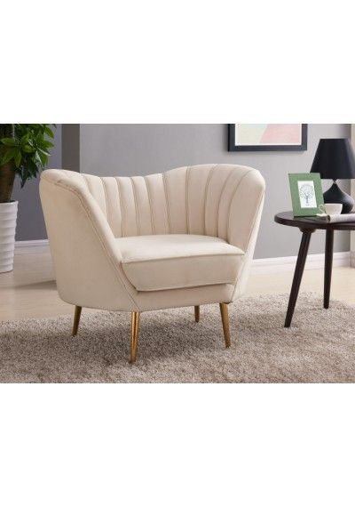 Cream Velvet Channel Tufted Loveseat Sofa Gold Legs With Images