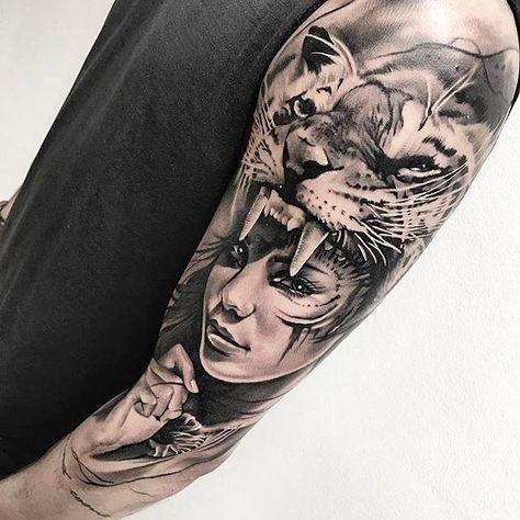 Amazing artist Michelle V. Andersen from Denmark awesome Siberian Tiger hat girl portrait tattoo!