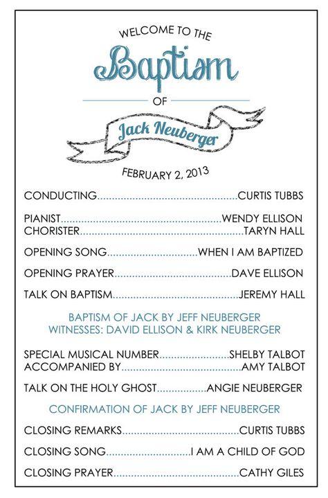 Printable Baptism Program - LDS, Girl, Boy | Church | Pinterest ...