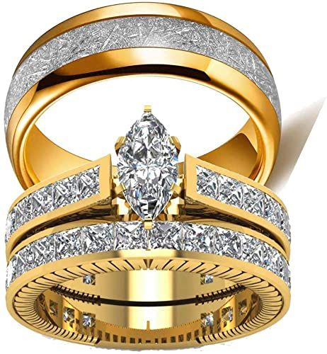 Amazon Com Two Rings His Hers Wedding Ring Sets Couples Rings Women S 10k Yellow Gold In 2020 Engagement Rings Bridal Sets Wedding Ring Sets Wedding Rings Engagement