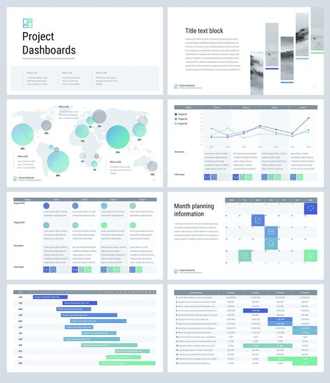 Project Dashboards for PowerPoint by Site2max on @creativemarket
