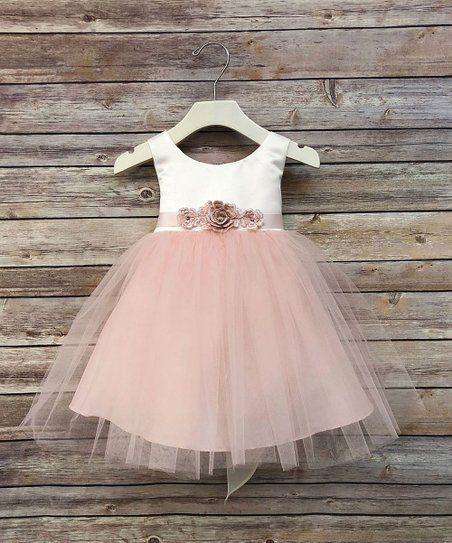 ccc38e008ff9d Precious Kids Ivory & Blush Pink Tulle Dress & Floral Belt - Infant ...