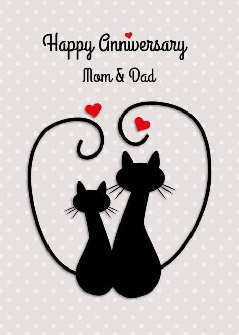 Love Cats Happy Anniversary Mom And Dad Card Ad Sponsored Happy Cats Lo Happy Wedding Anniversary Cards Happy Anniversary Wedding Anniversary Cards