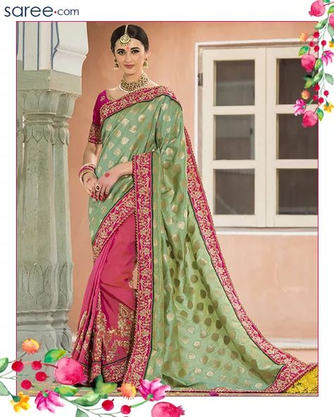 Green and Pink Jacquard Saree with Embroidery Work - Image 1