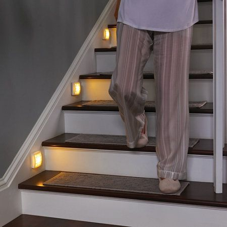 Watch All Of Your Steps With Our Soft Glow Led Motion Sensor Light This Motion Activated Light Has An Au Stair Lights Indoor Motion Lights Indoor Stair Lights