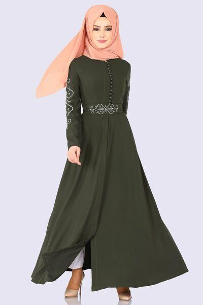 Modaselvim Ferace Kol Ve Kemeri Nakisli Ferace 8911w153 Haki The Dress Elbiseler Basortusu Modasi