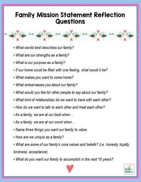 Printables To Create A Family Mission Statement  Family Mission