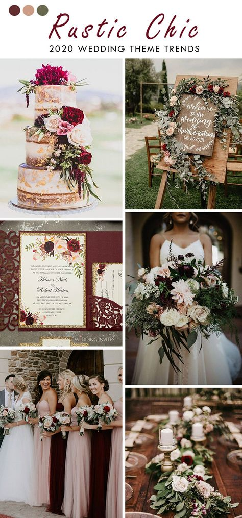 burgundy and blush rustic chic wedding color with rose gold glitters Classic Wedding Themes, Timeless Wedding, Chic Wedding, Wedding Trends, Dream Wedding, Wedding Day, Gold Wedding Theme, Farm Wedding, Wedding Details