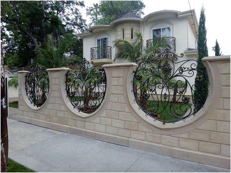 unik desain tembok pagar rumah minimalis mewah modern type