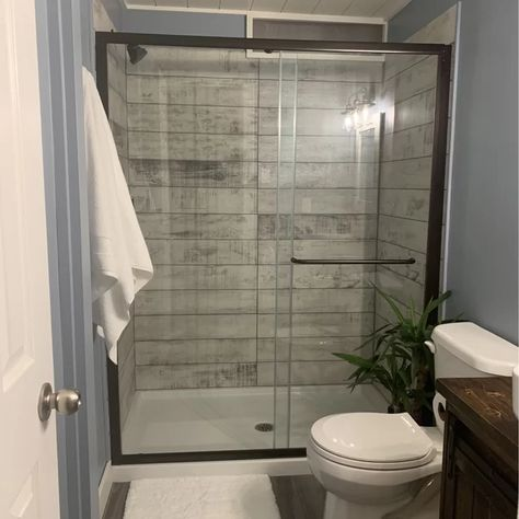 Small Bathroom Layout, Small Bathroom With Shower, Small Bathroom Renovations, Showers For Small Bathrooms, Shower With Half Wall, Small Master Bathroom Ideas, Small Bathroom Designs, Small Bathroom Interior, Beautiful Small Bathrooms