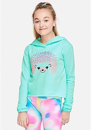 Hedgehog Graphic Hoodie Girls Sports Clothes Justice Clothing Outfits Tween Outfits