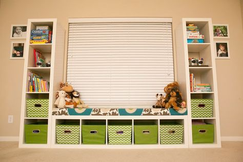 instead of the window - bookshelves on the wall (using Ikea Ribba shelves)