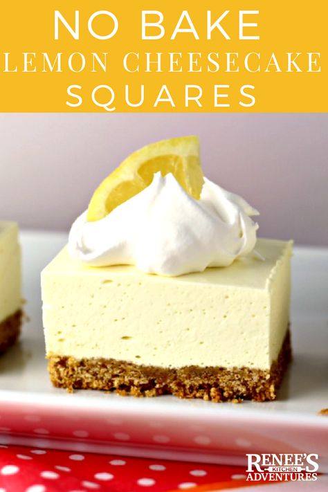 No Bake Lemon Cheesecake Squares | by Renee's Kitchen Adventures - NO BAKE easy dessert recipe that you NEED to make now!  Lemon jello and cream cheese set up into a light and fluffy lemon dessert you don't even need to turn  your oven on to make! #lemon #dessert #lemondessert #nobakedessert