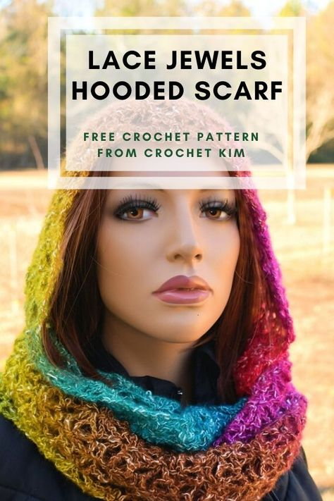 This crochet hooded scarf makes a great gift idea. The open crochet lace looks extraordinary in rows of soft self-striping yarn. #freecrochetpattern #scarf #hooded #crochetkim