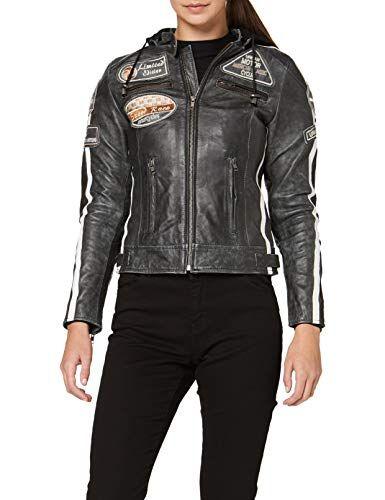 Urban Leather 58 Veste de Moto pour Femmes avec Protections Noir-S