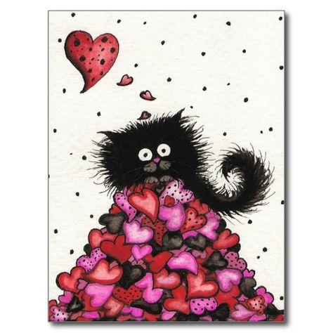 Thinking of you Often Postcard, cute valentine theme card with a black kitten sitting on top of a pile of hearts.  I love this artist, she's great!