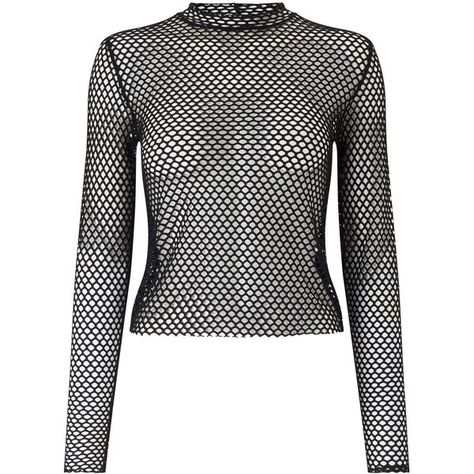 029333471b316 Miss Selfridge Black Long Sleeve Fishnet Top ( 49) ❤ liked on Polyvore  featuring tops