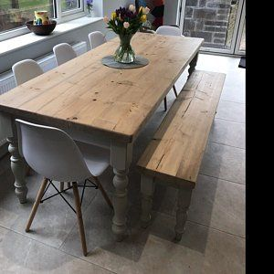 Farmhouse Dining Table With Reclaimed Wood Top And Matching Etsy