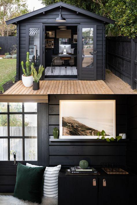 Garden Home Office, Shed Office, Backyard Office, Backyard House, Backyard Studio, Backyard Sheds, Outdoor Office, Backyard Cottage, Rustic Office