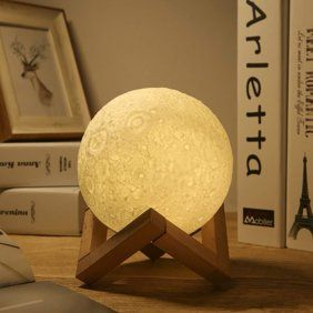 Tsv 3d Printed Moon Lamp Rechargeable Lunar Night Light Dimmable Touch Control Multiple Brightness Settings With Wooden Stand Walmart Com In 2020 Night Light Lamp Lamp Hanging Lights