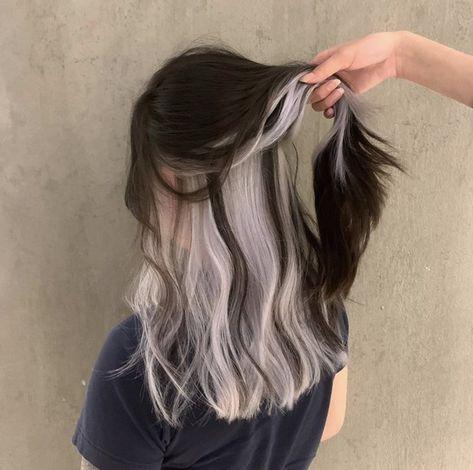 Two Color Hair, Hair Color Streaks, Hair Dye Colors, Cool Hair Color, Hair Highlights, Trendy Hair Colour, Hair Cuts And Color Ideas, Korea Hair Color, Winter Hair Colors