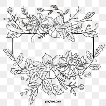 Black Hand Painted Line Side Wedding Decoration With Enclosed Round Symbolic Flower Border Border Clipart Wedding Decorations Wedding Ceremony Png Transpare In 2021 Wreath Drawing Flower Drawing Clip Art Borders