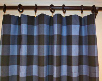 Farmhouse Buffalo Check Plaid Curtains Pair Of Rod Pocket Etsy
