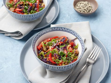 Recipe of the Day: Egg Roll in a Bowl | Here's what to make if you are craving everything an egg roll has to offer — crunchy vegetables, savory pork and a sweet, tangy sauce — but want to cut back on the carbs. Ready in 25 minutes, it's quicker than takeout too!