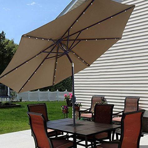 21 Best Solar Patio Umbrella Ideas, Sorbus 10 Ft Outdoor Patio Umbrella With Solar Charging Led Lights
