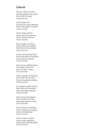 Liberte Un Poeme De Paul Eluard Les Saisons Relatable Armes
