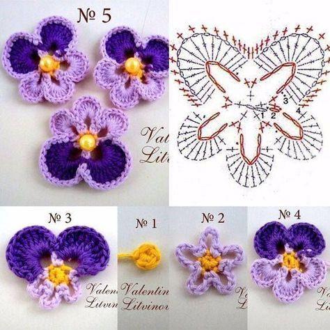 Crochet pansy ♥LCF-MRS♥ with diagram --- Intrecci Incantati: fiore Panzè all'uncinetto - Salvabrani